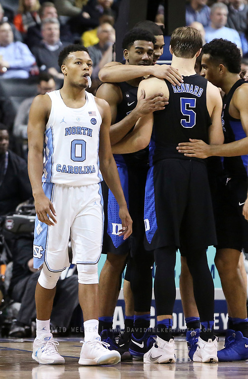 North Carolina guard Nate Britt (0) reacts after having a foul called on him during the semifinals of the 2017 New York Life ACC Tournament at the Barclays Center in Brooklyn, N.Y., Friday, March 10, 2017. (Photo by David Welker, theACC.com)