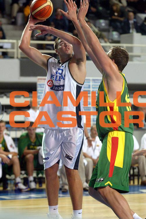 DESCRIZIONE : MAR DEL PLATA FIBA UNDER 21 WORLD CHAMPIONSHIP FOR MEN CAMPIONATO DEL MONDO UNDER 21 MASCHILE<br />GIOCATORE : VOUGIOUKAS<br />SQUADRA : GRECIA<br />EVENTO : UNDER 21 WORLD CHAMPIONSHIP FOR MAN CAMPIONATO DEL MONDO UNDER 21 MASCHILE<br />GARA : GRECIA - LITUANIA<br />DATA : 14/08/2005<br />CATEGORIA : Tiro<br />SPORT : Pallacanestro<br />AUTORE : AGENZIA CIAMILLO &amp; CASTORIA/M.Ciamillo