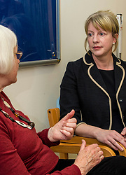Pictured: Shona Robison met patient Margo Arnott about the sevices available via the district nurse system<br /> <br /> Under pressure Health Secretary Shona Robison visited the Healthy Living Centre in Edinburgh's Wester Hailes today and annnounced details of funding for nurse training to expand community care. <br /> <br /> Ger Harley | EEm 30 April 2018