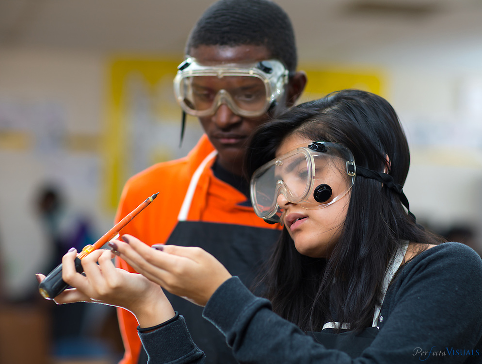 Southern Guilford High School students perform tests during the GSR and Tool Marks Lab in Ms. Montgomery&rsquo;s Honor&rsquo;s Forensic Science class Friday, November 17, 2017.<br /> <br /> Photographed, Friday, November 17, 2017, in Greensboro, N.C. JERRY WOLFORD and SCOTT MUTHERSBAUGH / Perfecta Visuals