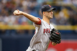 July 8, 2017 - St. Petersburg, Florida, U.S. - WILL VRAGOVIC   |   Times.Boston Red Sox starting pitcher Rick Porcello (22) tries to pick off Tampa Bay Rays center fielder Mallex Smith (0) at first base in the first inning of the game between the Boston Red Sox and the Tampa Bay Rays at Tropicana Field in St. Petersburg, Fla. on Saturday, July 8, 2017. (Credit Image: © Will Vragovic/Tampa Bay Times via ZUMA Wire)