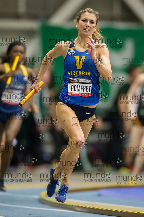 Windsor, Ontario ---2015-03-14--- Kendra Pomfret of the University of Victoria competes in the 4X400m at the 2015 CIS Track and Field Championships in Windsor, Ontario, March 14, 2015.<br /> GEOFF ROBINS/ Mundo Sport Images