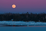 Moon rising over Lake Huron<br /> South Baymouth. Manitoulin Island<br /> Ontario<br /> Canada