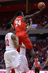 03 December 2016:  Damien Jefferson makes a long reach towards the hoop during an NCAA  mens basketball game between the New Mexico Lobos the Illinois State Redbirds in a non-conference game at Redbird Arena, Normal IL