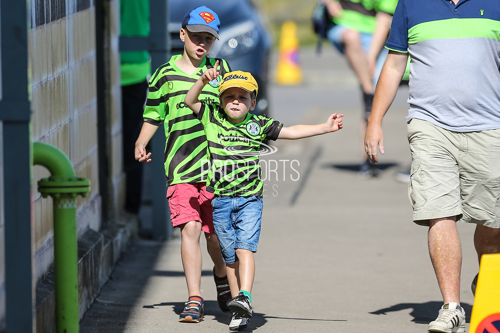 Young FGR fans arrive at the ground during the EFL Sky Bet League 2 match between Forest Green Rovers and Colchester United at the New Lawn, Forest Green, United Kingdom on 14 September 2019.