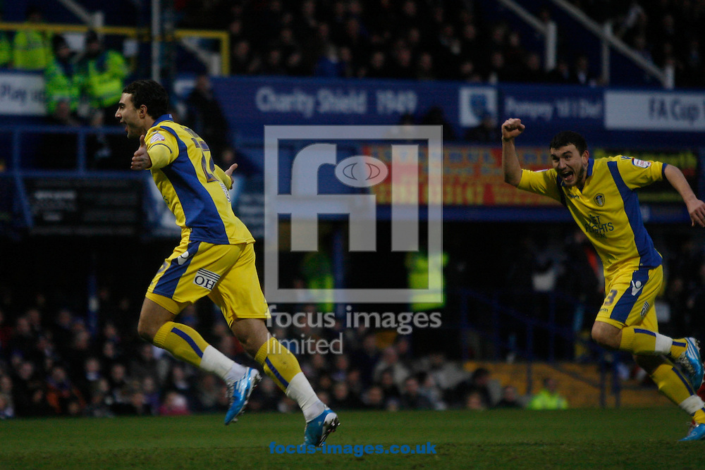 Portsmouth - Saturday January 22nd 2011: Leeds' Davide Somma scores their second goal during the Npower Championship match at Fratton Park, Portsmouth. (Pic by Daniel Chesterton/Focus Images)