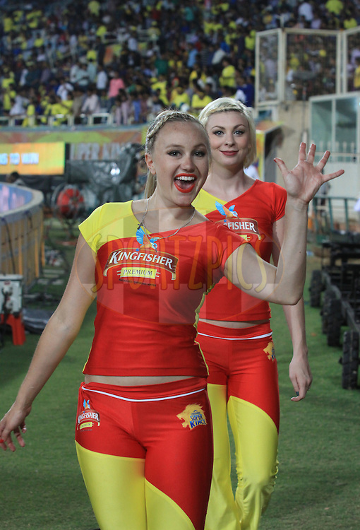Cheer leader react during match 21 of the Pepsi Indian Premier League Season 2014 between the Chennai Superkings and the Kolkata Knight Riders  held at the JSCA International Cricket Stadium, Ranch, India on the 2nd May  2014<br /> <br /> Photo by Arjun Panwar / IPL / SPORTZPICS<br /> <br /> <br /> <br /> Image use subject to terms and conditions which can be found here:  http://sportzpics.photoshelter.com/gallery/Pepsi-IPL-Image-terms-and-conditions/G00004VW1IVJ.gB0/C0000TScjhBM6ikg