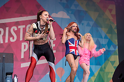 © Licensed to London News Pictures. 13/07/2019; Bristol, UK. MEL C (Melanie Chisholm) from the Spice Girls performs with SINK THE PINK dressed as members of the Spice Girls, at Bristol Pride's 10th anniversary festival in 2019; earlier there was their biggest ever march with thousands of people march in the Pride Parade through Bristol with the rainbow flag in celebration for all sections of the LGBT community. The festival continued on Bristol Downs with an estimated 35,000 people attending. Photo credit: Simon Chapman/LNP.