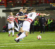 Greg Stewart scores Dundee's consolation goal -  Hamilton Academical v Dundee, SPFL Premiership at New Douglas Park<br /> <br />  - &copy; David Young - www.davidyoungphoto.co.uk - email: davidyoungphoto@gmail.com