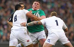 Tadhg Furlong of Ireland is tackled by Billy Vunipola and Joe Marler of England - Mandatory by-line: Ken Sutton/JMP - 18/03/2017 - RUGBY - Aviva Stadium - Dublin,  - Ireland v England - RBS 6 Nations