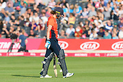 Wicket - Natalie Sciver of England looks dejected as he walks back to the pavilion after being dismissed by Tayla Vlaeminck of Australia during the 3rd Vitality International T20 match between England Women Cricket and Australia Women at the Bristol County Ground, Bristol, United Kingdom on 31 July 2019.