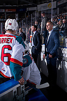KELOWNA, CANADA - JANUARY 9: Adam Brown, assistant coach of the Kelowna Rockets stands on the bench against the Everett Silvertips on January 9, 2019 at Prospera Place in Kelowna, British Columbia, Canada.  (Photo by Marissa Baecker/Shoot the Breeze)