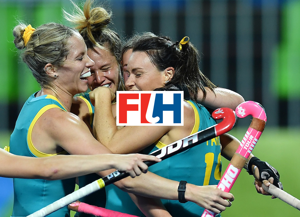 Australia's players celebrates scoring a goal during the women's field hockey Australia vs Japan match of the Rio 2016 Olympics Games at the Olympic Hockey Centre in Rio de Janeiro on August, 13 2016. / AFP / MANAN VATSYAYANA        (Photo credit should read MANAN VATSYAYANA/AFP/Getty Images)