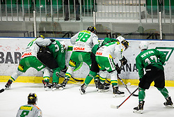 Players in action during Ice Hockey match between HK SZ Olimpija and EHC Alge Elastic Lustenau in Semifinal of Alps Hockey League 2018/19, on April 1, 2019, in Arena Tivoli, Ljubljana, Slovenia. Photo by Vid Ponikvar / Sportida