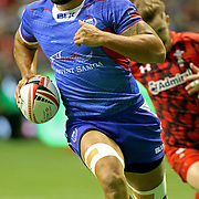 Jacob Ale scored a first half try as Manu Samoa overcame a tenacious Wales, 28-10 at the Canada 7's, Day 1, BC Place, Vancouver, British Columbia, Canada.  Photo by Barry Markowitz, 3/10/18, 6pm