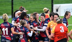 Clara Nielson of Bristol Bears Women celebrates with team mates - Mandatory by-line: Paul Knight/JMP - 26/10/2019 - RUGBY - Shaftesbury Park - Bristol, England - Bristol Bears Women v Richmond Women - Tyrrells Premier 15s