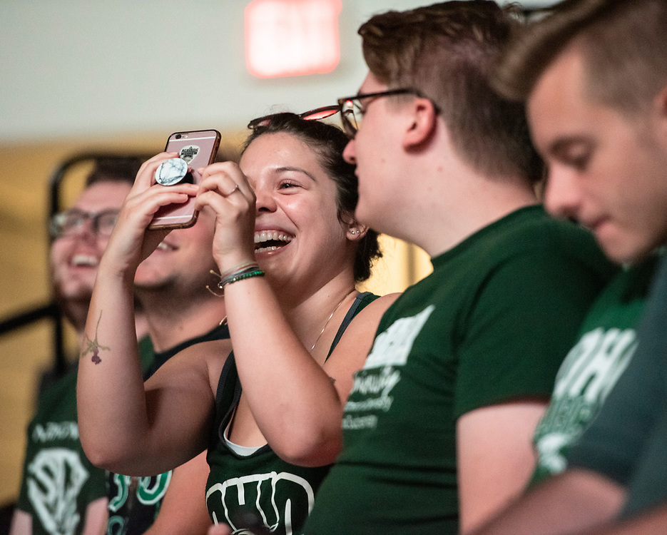 Students watch a video during the 2019 First Year Convocation. Photo by Hannah Ruhoff