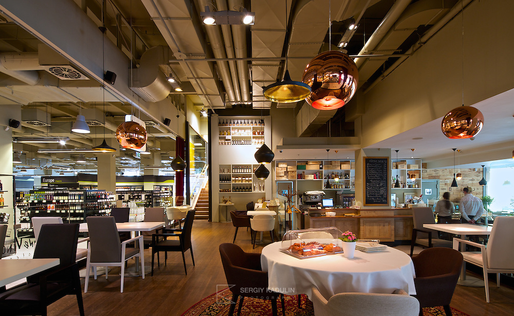 "Interior of restaurant in ""Good Wine"" gourmet supermarket in Kyiv, Ukraine."