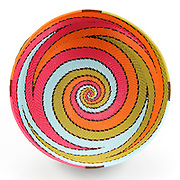 Bowl; Pink, green, orange and blue swirl