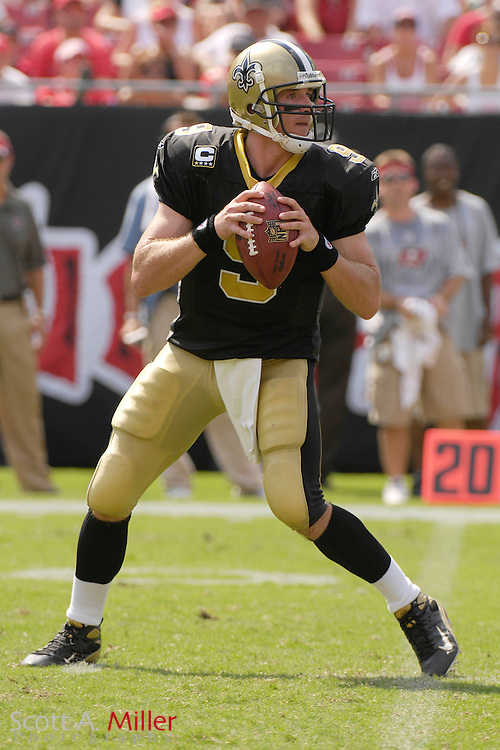 September 16, 2007; Tampa, FL, USA; New Orleans Saints quarterback (12) Drew Brees during his team's 31-14 loss to the Tampa Bay Buccaneers at Raymond James Stadium. Tampa Bay won the game 31-14. ..©2007 Scott A. Miller