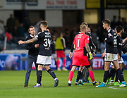 August 9th 2017, Dens Park, Dundee, Scotland; Scottish League Cup Second Round; Dundee versus Dundee United; Dundee manager Neil McCann congratulates Kerr Waddell at the end