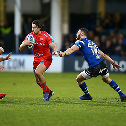 Jackson Willison andMax Wright of Bath Rugby look to tackle James O'Connor of Sale Sharks during the Gallagher Premiership match between Bath Rugby and Sale Sharks at the The Recreation Ground Bath England.2nd December 2018,(Photo by Steve Haag Sports)