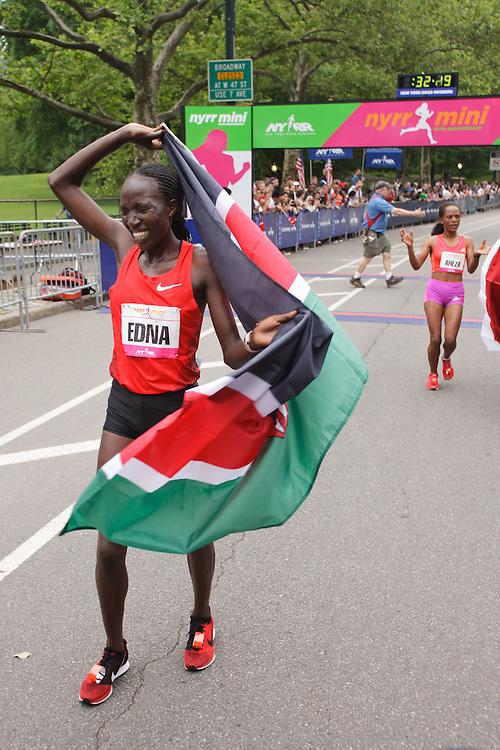 NYRR Mini 10K road race (40th year); Edna Kiplagat, Kenya, after winning