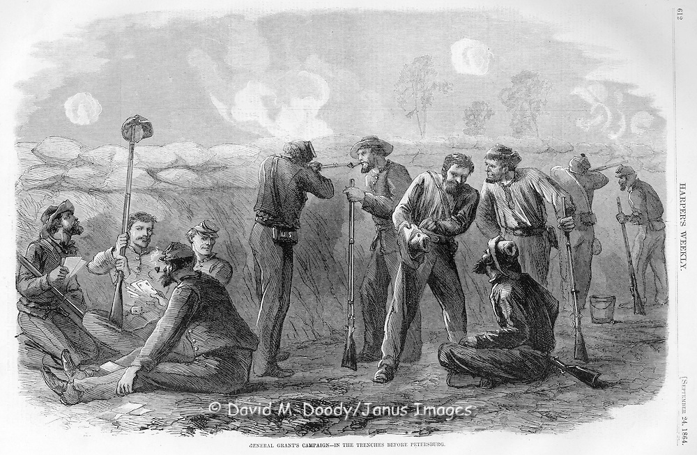 Civil War:  Union Soldiers in trenches before Petersburg, Virginia. Soldiers are amusing themselves by playing cards and raising hats on a bayonet for the enemy to put a bullet hole in.  Illustration from Harper's Weekly September 24, 1864.