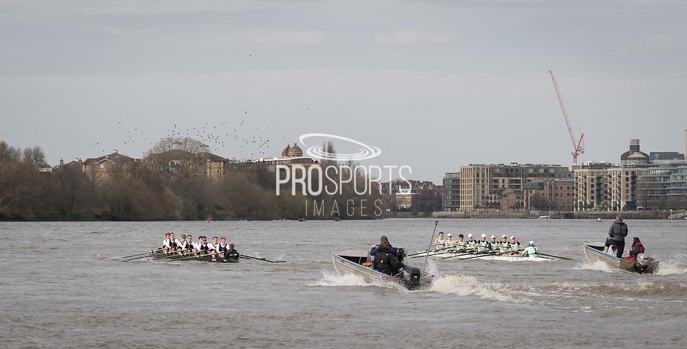 23 March 2019. <br /> <br /> Oxford University Lightweight Rowing Club (dark blue) races Cambridge University Lightweight Rowing Club.