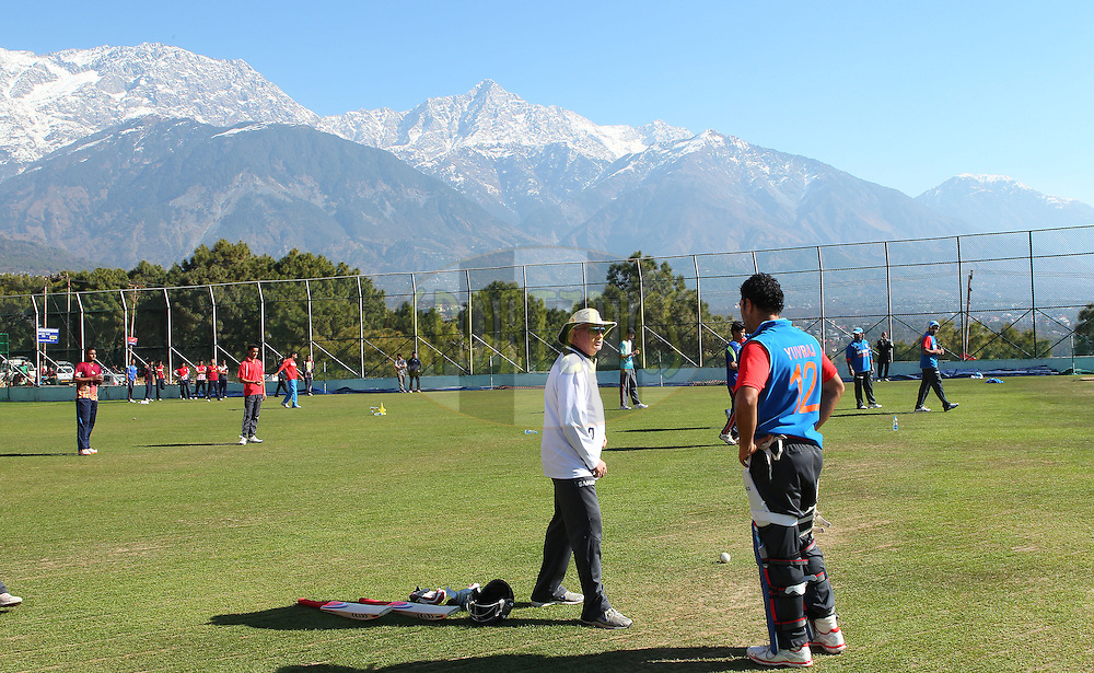 Duncan Fletcher and Yuvraj Singh of India  during the Indian team practice session held at the HPCA Stadium in Dharamsala, Himachal Pradesh, India on the 26th January 2013..Photo by Ron Gaunt/BCCI/SPORTZPICS ..Use of this image is subject to the terms and conditions as outlined by the BCCI. These terms can be found by following this link:..http://www.sportzpics.co.za/image/I0000SoRagM2cIEc