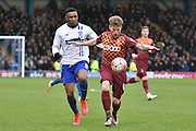 Bradford City Forward, Billy Clarke deftley controls the ball during the The FA Cup third round match between Bury and Bradford City at Gigg Lane, Bury, England on 9 January 2016. Photo by Mark Pollitt.