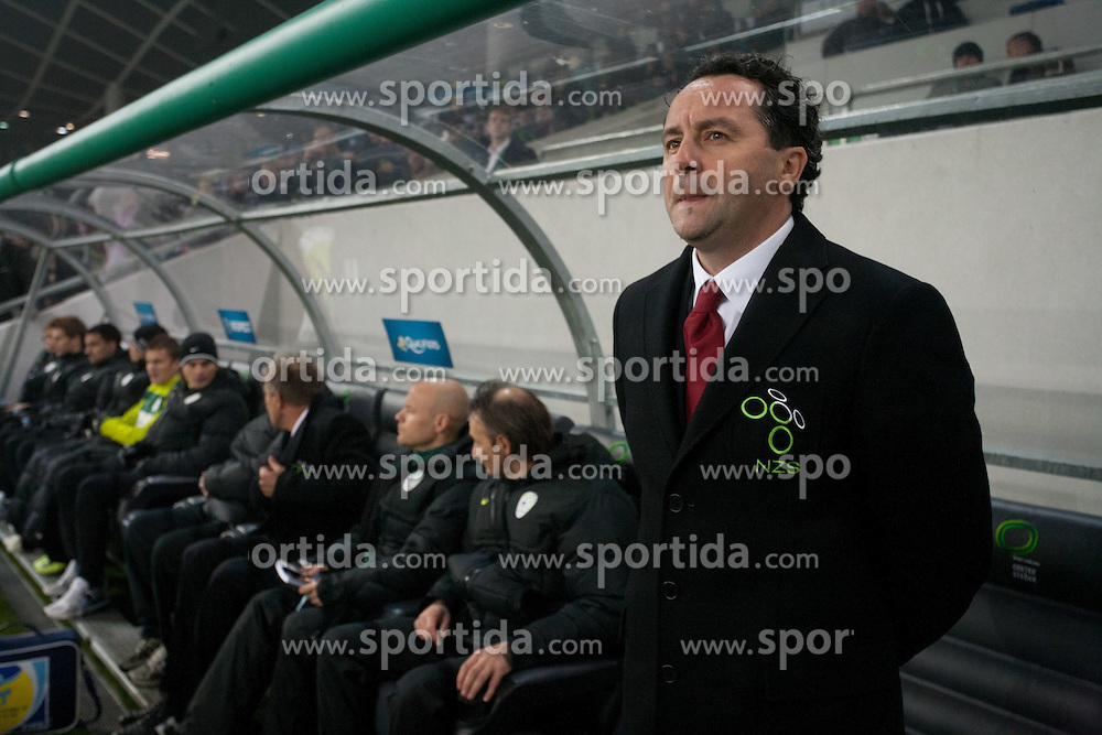 Slavisa Stojanovic, head coach of Slovenia, during friendly football match between National teams of USA and Slovenia, on November 15, 2011 in SRC Stozice, Ljubljana, Slovenia. USA defeated Slovenia 3-2. (Photo By Vid Ponikvar / Sportida.com)