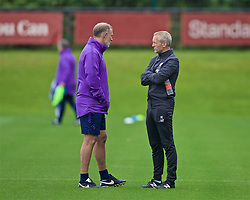 KIRKBY, ENGLAND - Saturday, August 10, 2019: Liverpool's manager Neil Critchley (R) chats with Tottenham Hotspur's manager Wayne Burnett during the Under-23 FA Premier League 2 Division 1 match between Liverpool FC and Tottenham Hotspur FC at the Academy. (Pic by David Rawcliffe/Propaganda)