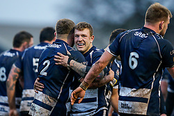 Bristol Rugby Hooker Chris Brooker (capt) is hugged by Flanker Max Crumpton after he scores a try - Mandatory byline: Rogan Thomson/JMP - 17/01/2016 - RUGBY UNION - Clifton Rugby Club - Bristol, England - Scarlets Premiership Select XV v Bristol Rugby - B&I Cup.