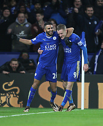 Jamie Vardy of Leicester City (R) celebrates scoring his sides second goal - Mandatory byline: Jack Phillips/JMP - 02/02/2016 - FOOTBALL - King Power Stadium - Leicester, England - Leicester City v Liverpool - Barclays Premier League