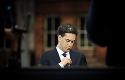 Ed Miliband during a Sky TV Interview at the Labour Party Conference in Manchester, October 3, 2012. Photo by Elliott Franks / i-Images.