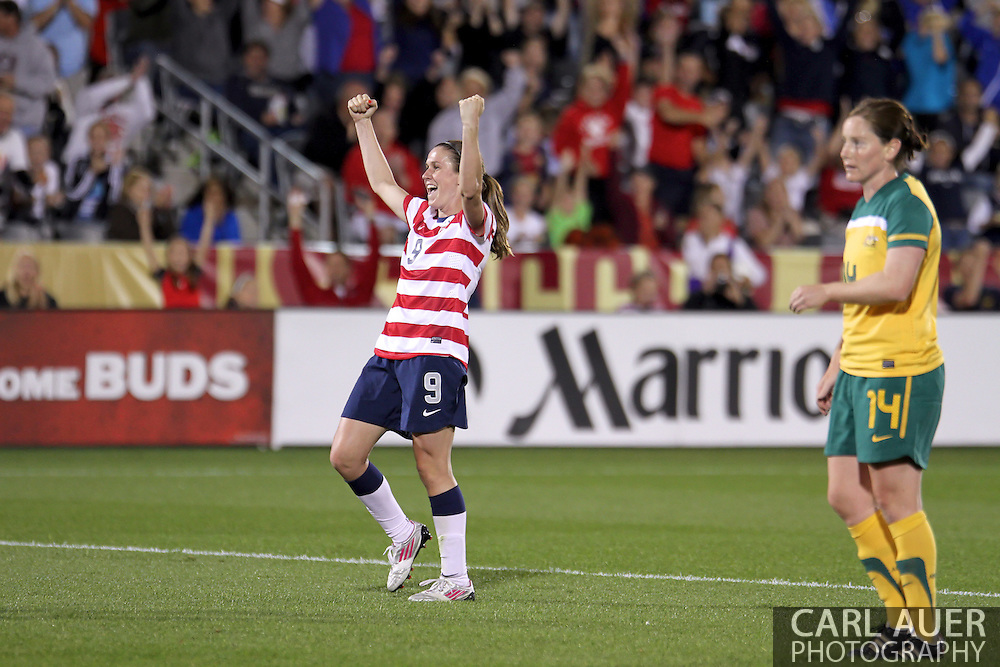 September 19, 2012 Commerce City, CO.  USA m Heather O'Reilly (9) celebrates scoring the first goal during the Soccer Match between the USA Women's National Team and the Women's Australian team at Dick's Sporting Goods Park in Commerce City, Colorado