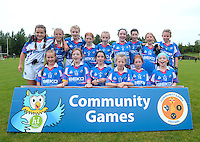 21 Aug 2016:  Meath - winners of the Girls U12 Gaelic football final.  Skryne, Meath (blue) v Clontibret, Monaghan (green).  2016 Community Games National Festival 2016.  Athlone Institute of Technology, Athlone, Co. Westmeath. Picture: Caroline Quinn