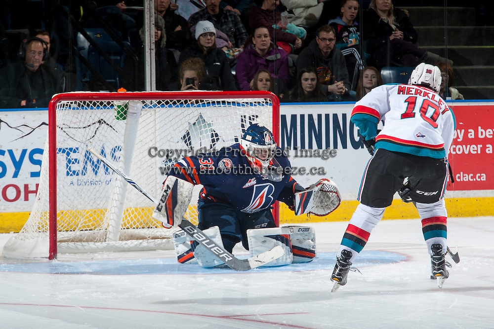 KELOWNA, CANADA - JANUARY 7: Dylan Ferguson #31 of the Kamloops Blazers defends the net in the shoot out against the Kelowna Rockets on January 7, 2017 at Prospera Place in Kelowna, British Columbia, Canada.  (Photo by Marissa Baecker/Shoot the Breeze)  *** Local Caption ***