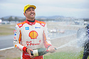 20th May 2018, Winton Motor Raceway, Victoria, Australia; Winton Supercars Supersprint Motor Racing; Fabian Coulthard celebrates after he drove the #12 DJR Team Penske Ford Falcon FG X to victory