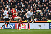 Derby County midfielder Bradley Johnson crosses the ball during the Sky Bet Championship match between Derby County and Nottingham Forest at the iPro Stadium, Derby, England on 19 March 2016. Photo by Jon Hobley.