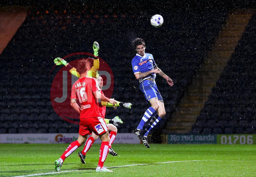 Peter Vincenti of Rochdale heads towards goal  - Mandatory byline: Matt McNulty/JMP - 07966 386802 - 06/10/2015 - FOOTBALL - Spotland Stadium - Rochdale, England - Rochdale v Chesterfield - Johnstones Paint Trophy