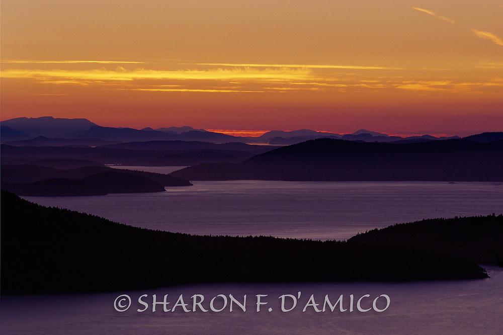 San Juan Islands Silhouetted at Dusk, Washington