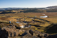 Krýsvík Geothermal Area, Reykjanes Peninsula, Iceland. Krýsuvík consists of several geothermal fields, such as Seltún and Austurengjar. Here have formed solfataras, fumaroles, mud pots and hot springs, the soil is colored in bright yellow, red and green hues.