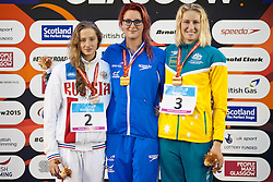 SHABALINA Valeriia, APPLEGATE Jessica-Jane, CORRY Taylor RUS, GBR, AUS at 2015 IPC Swimming World Championships -  Women's 100m Backstroke S14