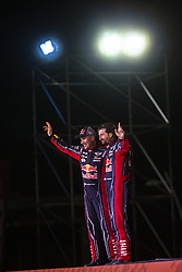 LIMA, Jan. 7, 2019  French driver Stephane Peterhansel (L) and co-driver David Castera wave to the audience during the departure ceremony at the 2019 Dakar Rally Race, Lima, Peru, on Jan. 6, 2019. The 41st edition of Dakar Rally Race kicked off in Lima, Peru. (Credit Image: © Xinhua via ZUMA Wire)