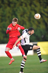 Joe Burgess Captain Ilkestone, beats Cambridge City Danny Kelly, Cambridge City v Ilkestone FA Trophy 1st Qualifying Round, Westwood Road St Ives Ground, Saturday  31st October 2015 <br /> (Sore Cambridge 0- Ilkestone 1)