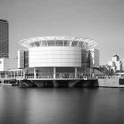 Milwaukee Discovery World picture in black and white. Milwaukee Discovery World is a museum along the Milwaukee lakefront. High resolution photo includes US Bank building, University Club Tower, and Milwaukee Art Museum.