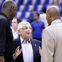 12 June 2012: David Stern, commissioner of the National Basketball Association, talks to Bruce Bowen prior to the Oklahoma City Thunder 105-94 victory over the Miami Heat, in Game 1 of the 2012 NBA Finals, at the Chesapeake Energy Arena, Oklahoma City, Oklahoma, USA.