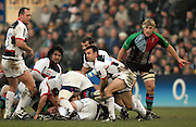 Twickenham, GREAT BRITAIN, Neil DE KOCK, clears the ball from behind the scrum, during the Guinness Premiership game Harlequins [Quins] vs Saracens at the Stoop, Middx, 22/12/2007  [Mandatory Credit Peter Spurrier/Intersport Images]
